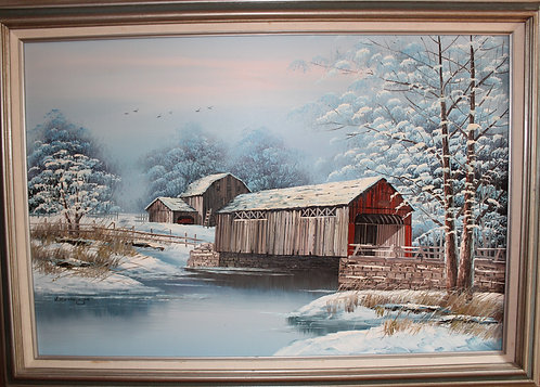 ORIGINAL LARGE OIL PAINTING ON CANVAS  SIGNED BY  K.MICHAELSON, WINTER LANDSCAPE