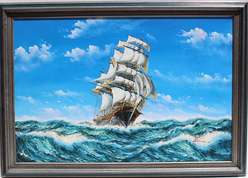Listed Artist AMBROSE, Possibly J, Large Framed Oil on Canvas, Galleon at Sea