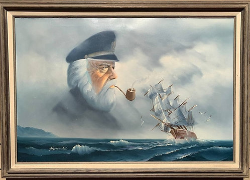 Large Framed Oil painting on Canvas, Galleon at Sea, Captain, Signed, Framed
