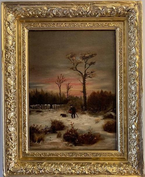 Antique 19 century original oil painting on canvas, Winter landscape, framed