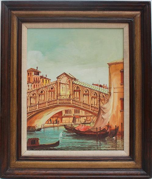 Italian Artist oil painting on canvas, Italy, Venice, Rialto Bridge view, Signed