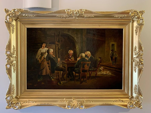Antique oil painting on canvas, Tavern scene, Unsigned, Framed