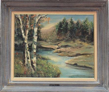 Original Vintage oil painting on board, summer landscape, signed Hammer, framed