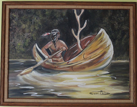Original  oil painting on canvas, boat, river, framed, Signed