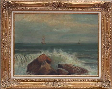 Antique 19 cent original oil painting on canvas, seascape, sailboats, unsigned