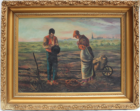 Antique Oil Painting on canvas, (After) Jean-François Millet, Signed L.Prelle