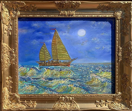 Oil Painting on Canvas, Seascape, Lonely Sailboat on the High Seas, Signed, COA