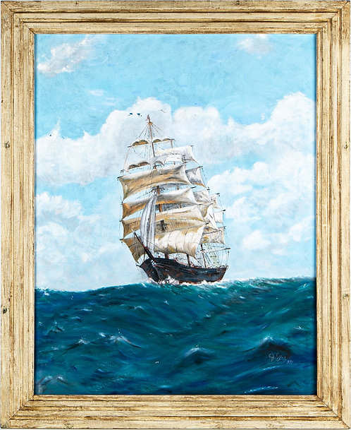 Original oil painting on canvas, seascape, Clipper Ship at sea, signed, dated