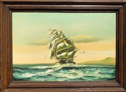 Large oil painting on canvas, seascape, Sailing ships on the ocean, E.Leonard