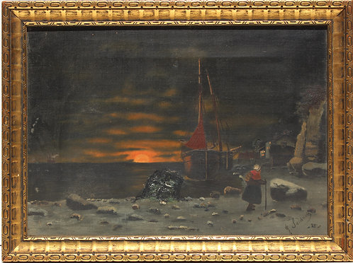 19c Antique 1888 oil painting on canvas,Seascape, European Village Signed, dated