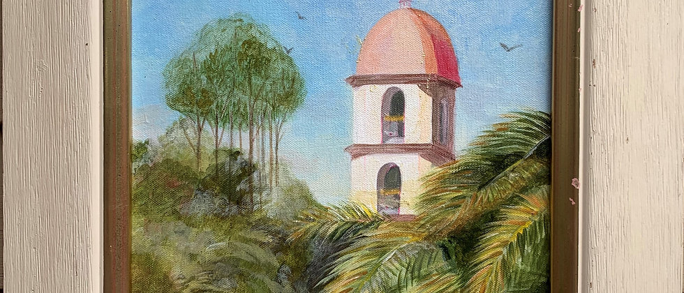 Vintage oil painting on Canvas, Tropical landscape, Signed, Dated, Framed