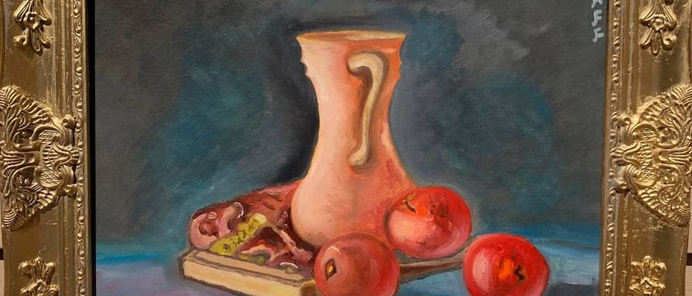 Original oil painting on canvas, Still life, signed S.Graff, Dated, COA