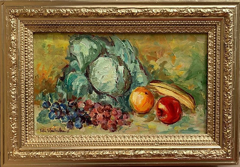 Antique Still Life oil painting on canvas, Fruits, Signed, Framed, Dated
