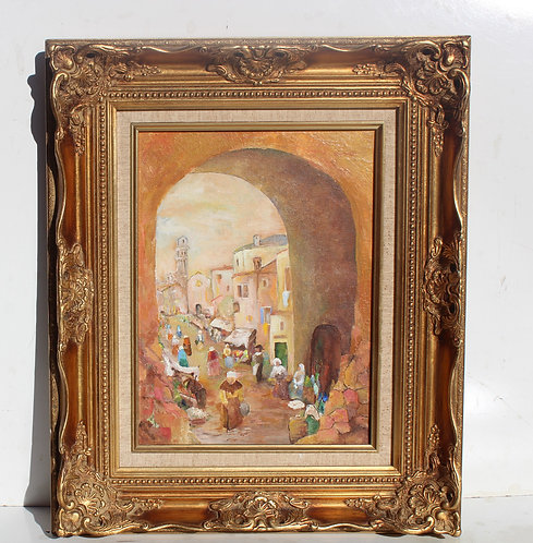 Vintage oil painting on canvas, old European town, market square, unsigned