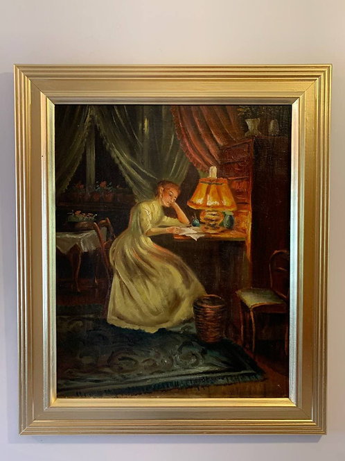 Danish Antique original oil painting on canvas, Woman in interior, Framed