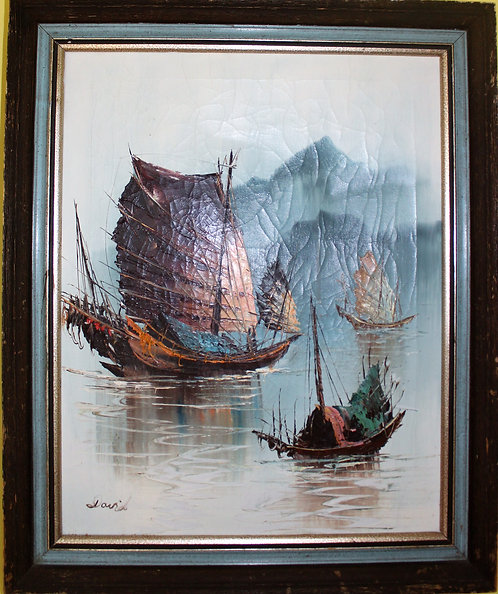 ORIGINAL  VINTAGE OIL PAINTING ON CANVAS  SIGNED BY DAVID, OCEAN, SHIPS