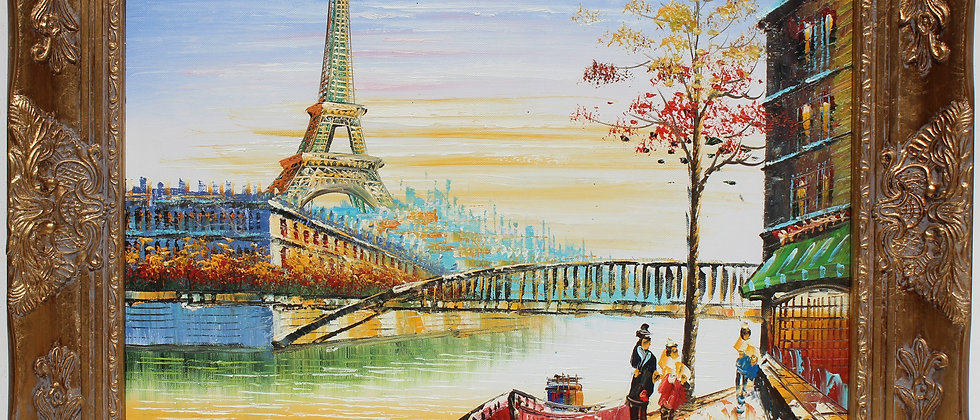 Oil painting on canvas, Cityscape, Paris, Eiffel Tower view, Signed, Framed