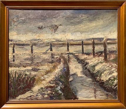 Danish Vintage/antique oil painting on canvas, Landscape, Ducks, Signed Serber