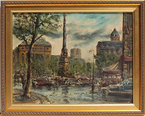 Listed French Artist A.R.Besse 1899-1969 oil painting, Paris, Place du Châtelet