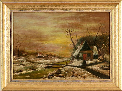 1898 Antique 19th century Oil Painting on Canvas, Rural Landscape, Signed,Dated