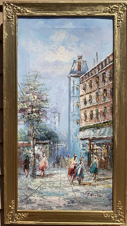 Oil painting on canvas, Paris street view, framed, Signed