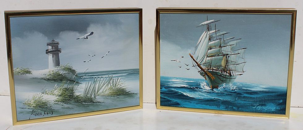 Listed Artist Hewett JACKSON 1914-2007,set of two small oil paintings, seascape