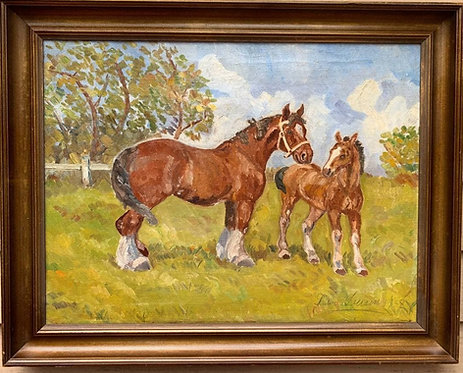 1938 Danish Vintage/antique oil painting on canvas, Horses, Signed dated