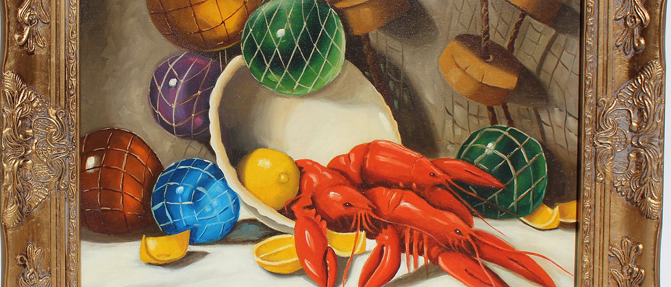 Original Oil Painting on Canvas Still Life Fruit, Lobsters, Framed, Signed,Dated