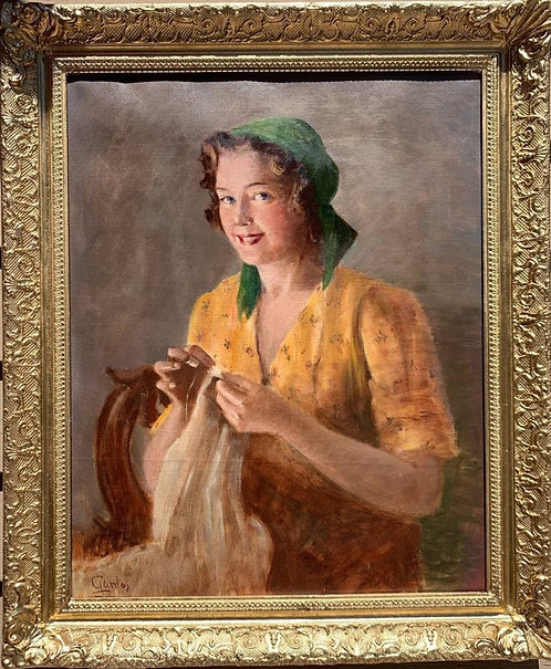Vintage oil painting on canvas, portrait of a young woman, Signed, Framed