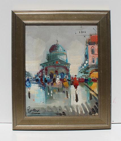 Vintage oil painting on canvas, cityscape, Paris street scene, Signed, Framed
