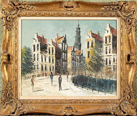 Original oil painting on canvas street scene, cityscape,signed V.Dudok, framed