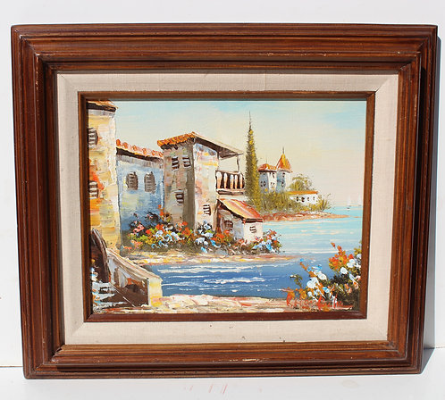 Vintage oil painting on Canvas, Cityscape, Harbor city view, Signed, Framed