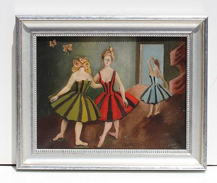 "O.Picard (1897-1974) Vintage Surrealism oil painting on canvas ""Dancers"" 1952"