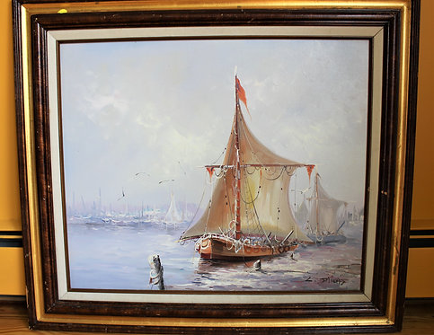ORIGINAL VINTAGE  OIL PAINTING ON CANVAS SIGNED OCEAN LANDSCAPE,  SHIPS, BOATS,