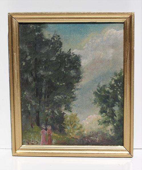 Antique 19 c. Original Oil Painting on canvas, Landscape, unsigned, framed