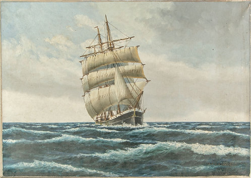 Antique oil painting on canvas, FREDERIK ERNLUND (DENMARK, 1870 - 1957) seascape