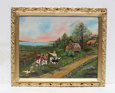 Antique oil painting on board, rural landscape, seascape, shepherd grazing cows.