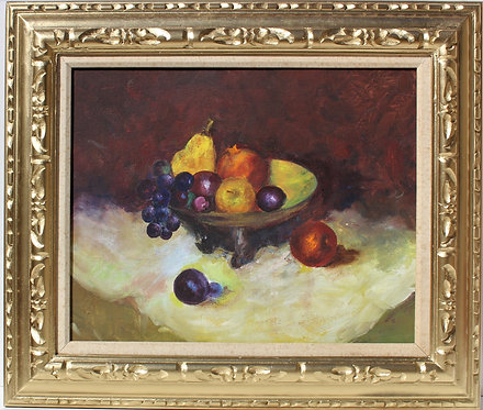 Vintage Still Life oil painting on canvas panel, Fruits, Unsigned, Framed