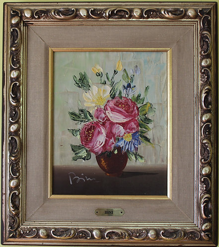 Italian Artist Pietro Bini original Oil Painting On Canvas, Still life, flowers