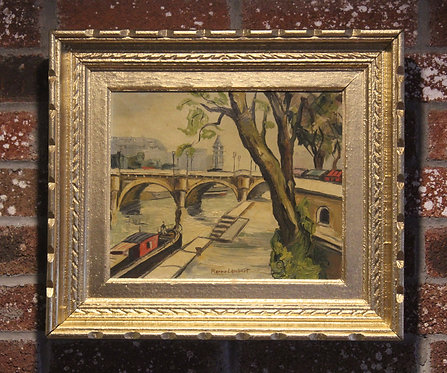 Famous French Listed Artist Pierre Lambert oil on canvas Paris River Seine view