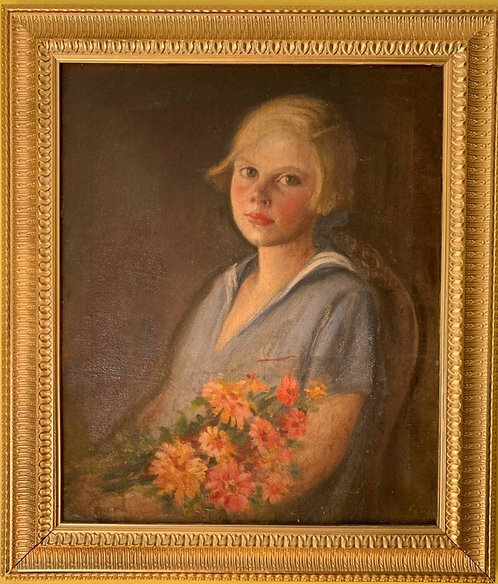 Antique Original Oil Painting on Canvas, Portrait of a Young Woman, Unsigned