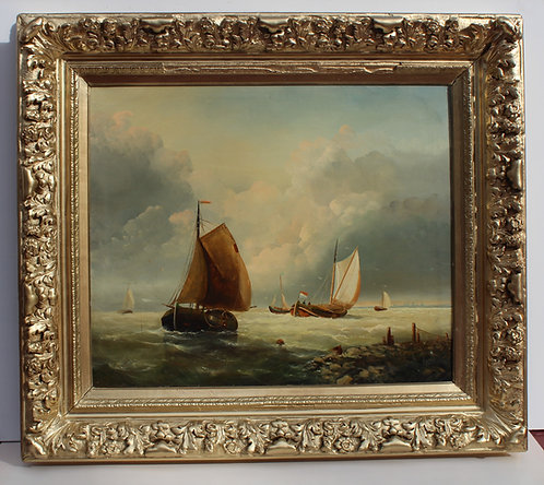 Antique Oil painting on canvas, original, seascape, Sailboats,Signed , Framed