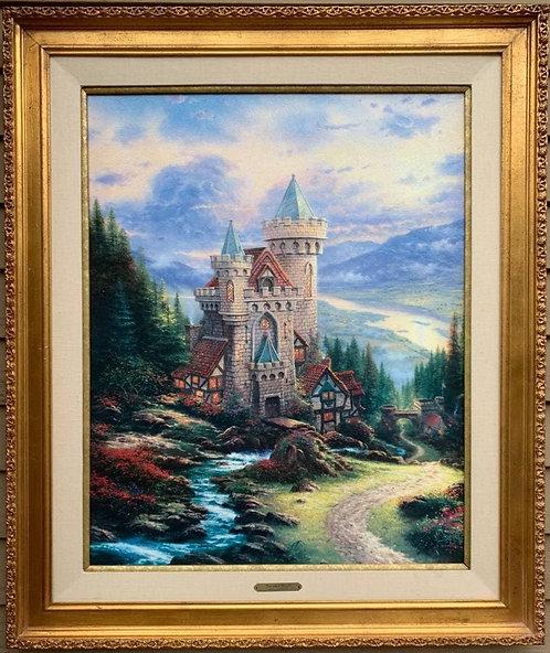 """Large Tomas Kinkade """"Guardian Castle"""" A/P Canvas, Limited Edition 200/475, COA"""