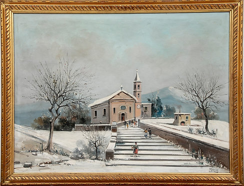 Listed Italian Artist Petrilli Vintage oil painting on canvas, Winter landscape