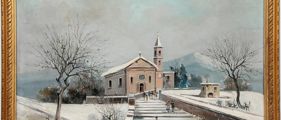 Listed Italian Artist Petrilli Vintage oil painting on canvas, Winter landscape