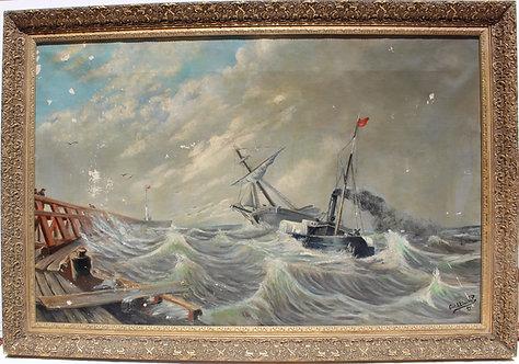 1893 Antique 19c oil painting on canvas, Carl L. Lindquist 1856-1941, seascape