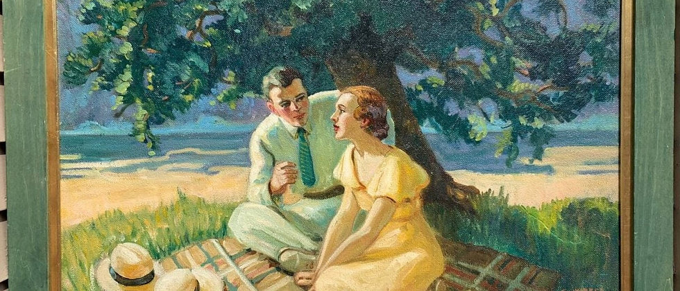 """Large Vintage Oil Painting on Canvas, """"Lovers Lunch"""", Signed, Dated 1933, framed"""