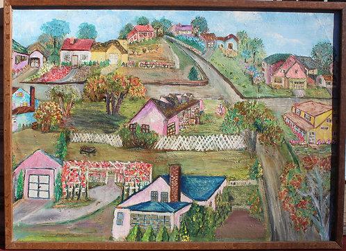 Vintage original Oil Painting on canvas, landscape, Framed