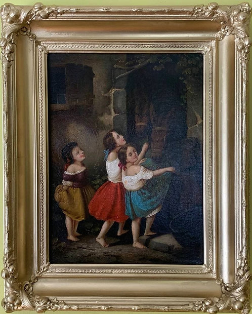 Antique Early 19th century Oil Painting on Canvas, Children Feeding Horses