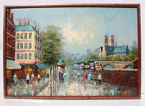 Vintage oil painting on canvas, cityscape, Paris view, Notre Dame, signed,framed